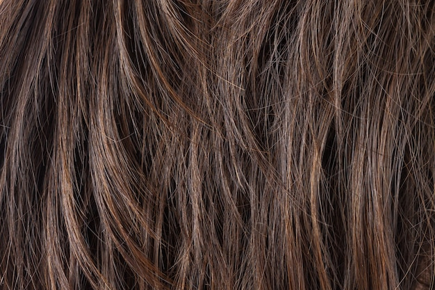 Texture of dark brunette straight hair care or extension concept