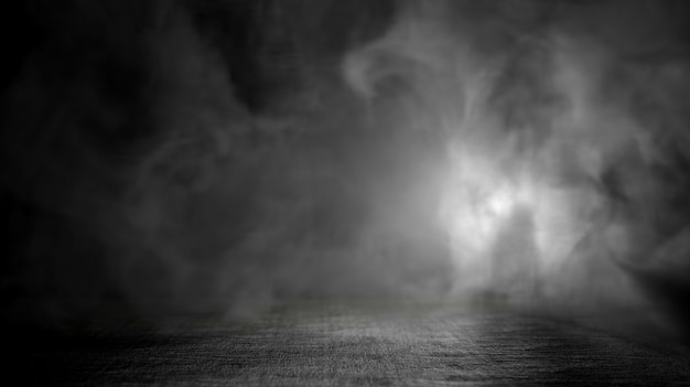 テクスチャ暗いコンクリートの床と煙の背景。 3dレンダリング。
