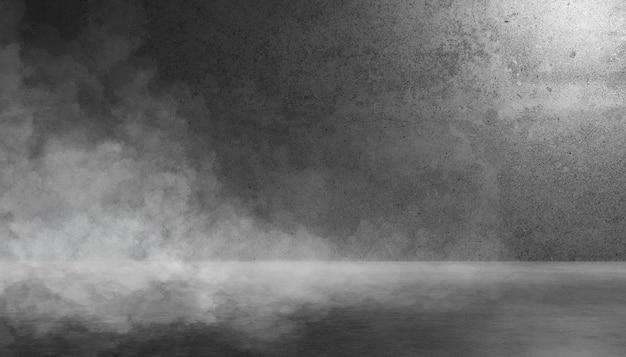 Текстура темной бетонной стены и пола с дымом или туманом