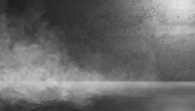 Texture dark concrete wall and floor with smoke or fog mist