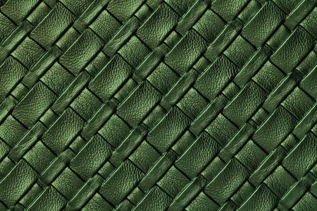 Texture of dark green leather background with wicker pattern