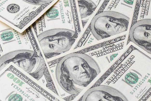 Texture of dollar bills. one hundred dollars.