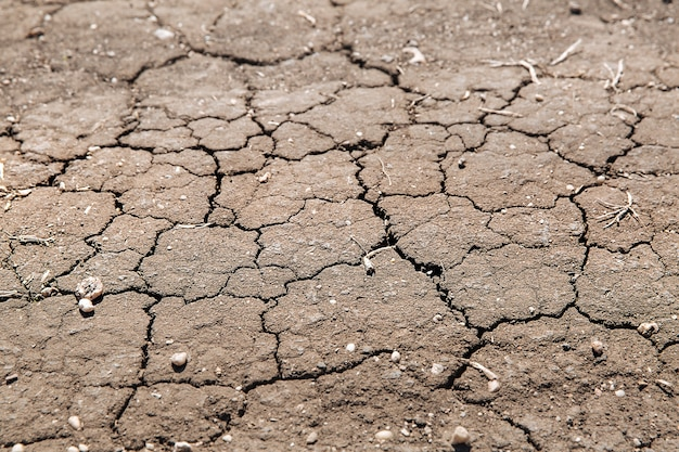 Texture of dried cracked earth because of no rain and drought season. example of changing climate.