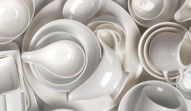 Texture of empty dishware, pattern of clean tableware assortment, top view