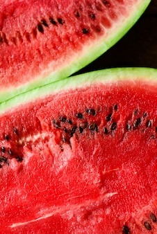 Texture of fresh ripe watermelon. macro close up, top view