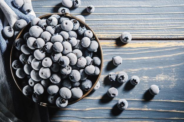 The texture of frozen blueberries