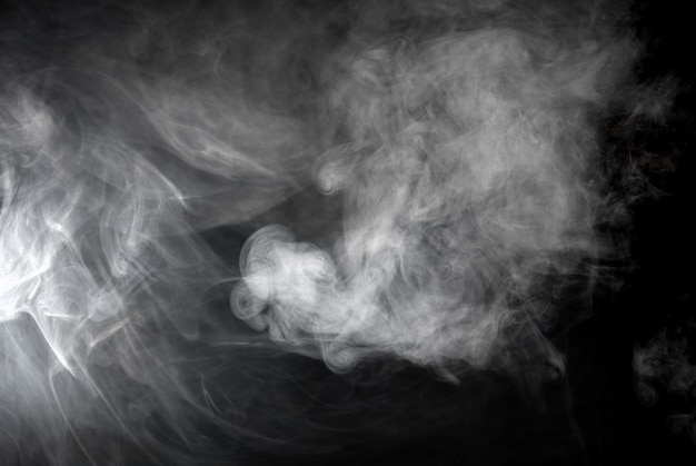 Texture of gray smoke on black background