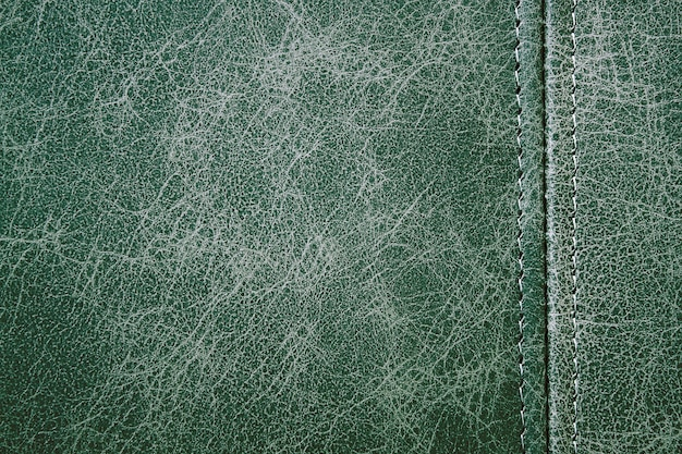 Texture green leather with a vertical seam, closeup background