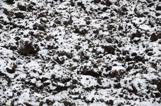 The texture of the ground, covered with a thin layer of snow