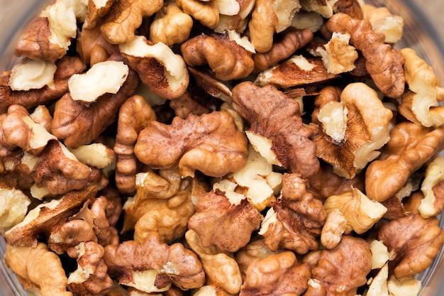 Texture of husks of walnuts, closeup. close-up.