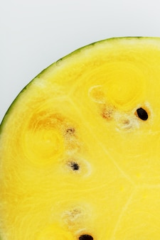 Texture of the juicy pulp of yellow watermelon