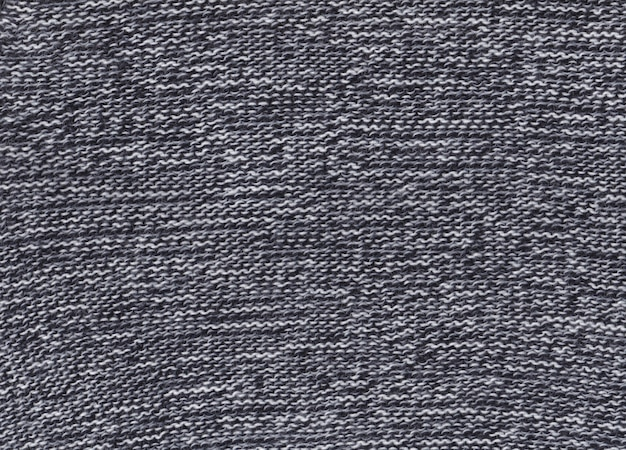 Texture of knitted black and white fabric.