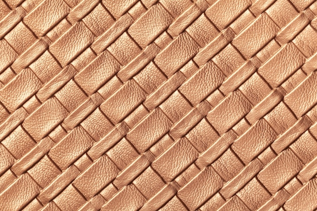 Texture of light brown leather background with wicker pattern, macro. abstract backdrop from modern decorative beige textile with diagonal lines.