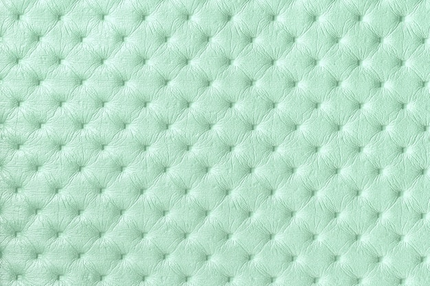 Texture of light green leather surface with capitone pattern