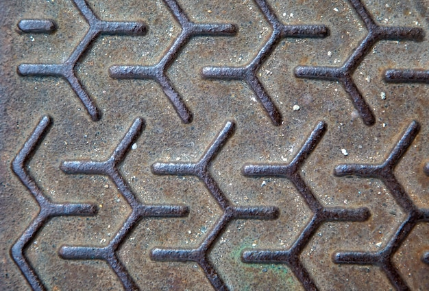 Texture of the metal manhole cover of street sewage shaft