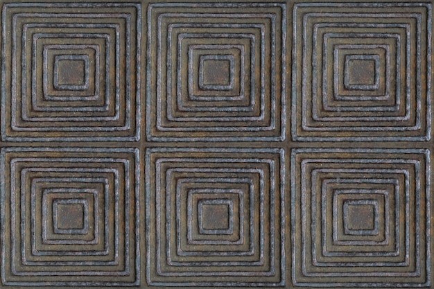 The texture of the metal surface with a pattern in the form of squares and rhombuses of brown color.