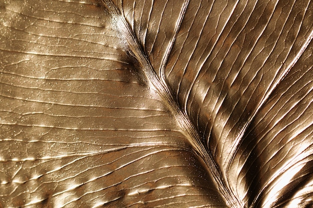 The texture of the monstera leaf painted in gold color. abstract background.