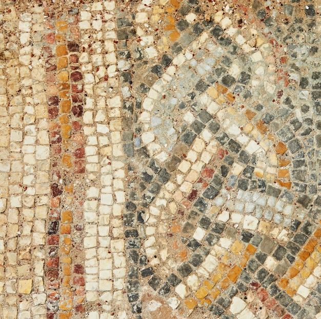 The texture of the mosaic of the lined floors in the baths herod's palace in the caesarea primorskaya national park.