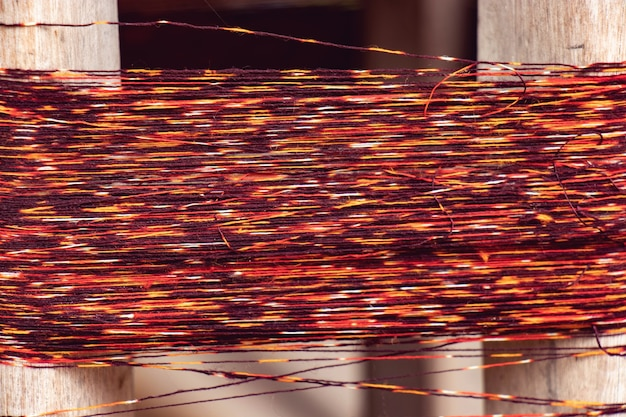 Texture of multi coloured natural dyed yarns for weaving in thailand