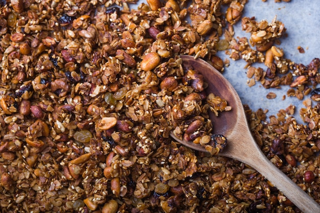 Texture oatmeal granola or muesli. food concept. healthy and wholesome food.