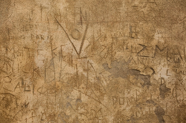 Текстура стены, поврежденной временем и оскверненной в пригороде