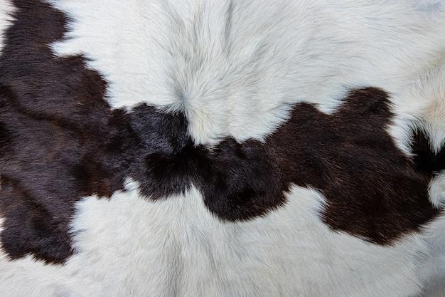 Текстура коричневой коровьей шкуры с мехом, черные белые и коричневые пятна