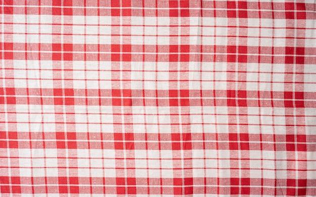 チェック生地の風合い赤白テーブルクロス柄チェック柄背景クラシックチェック柄