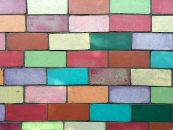 Texture of colorful brick wall background