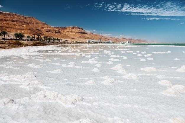 Текстура мертвого моря. соленый морской берег