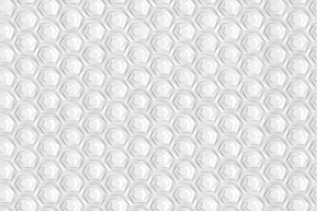 棚のある異なる深さのセルを持つ六角形の3次元グリッドのテクスチャ。 3dイラスト