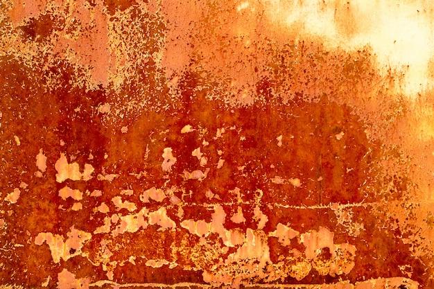 古い鉄、薄いペンキ、錆の質感