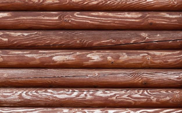 丸い板で作られた古い木製のフェンスの質感