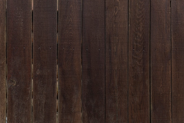 Texture of an old dark brown wooden fence with planks arranged vertically. close-up. space for text. background.