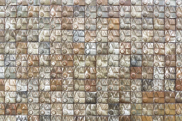 Texture of old dirty ceramic tiles brown and multi color.