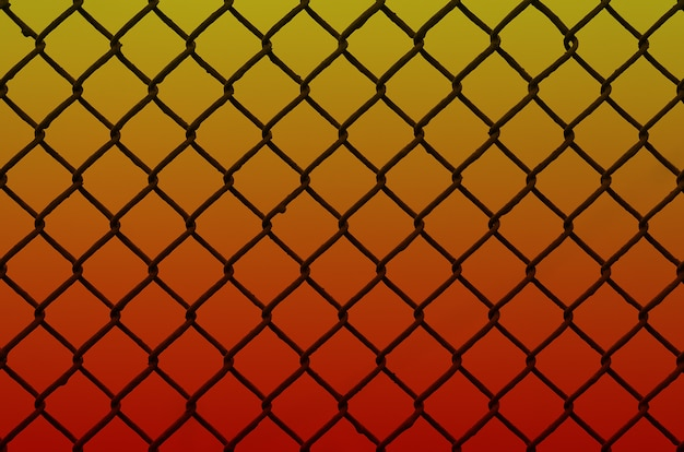 Texture of an old and rusty metal mesh on a neutral colored background