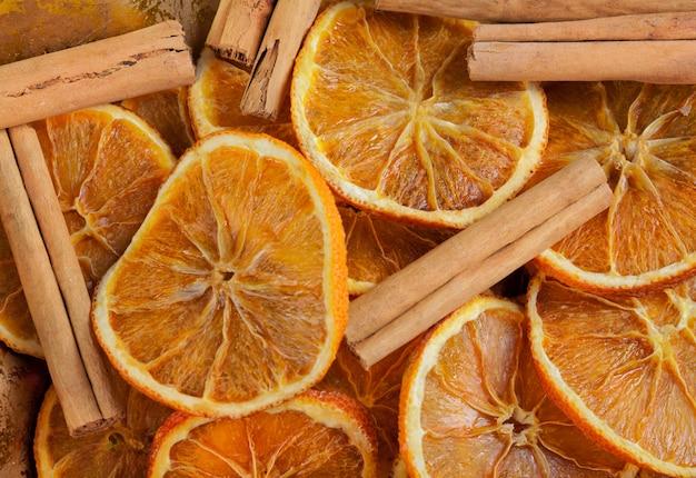 Texture of orange slices and cinnamon