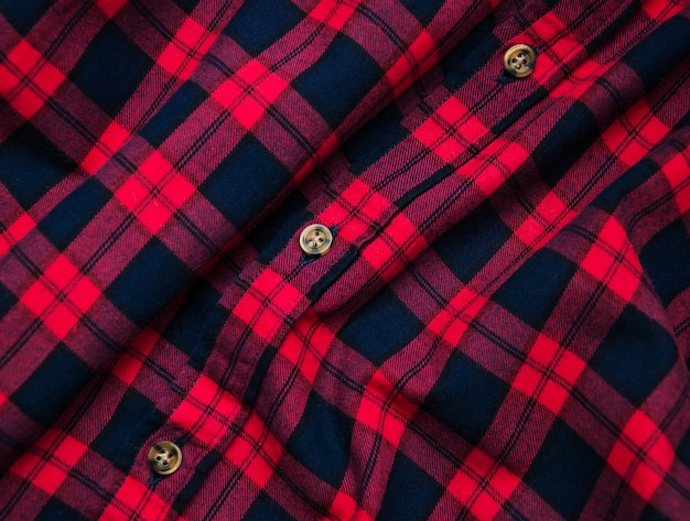 Texture of red black checkered fabric