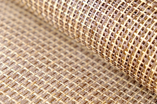 Texture roll of sackcloth for background. selective focus.