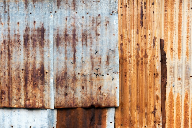 Texture of rusty corrugated iron metal sheet texture.