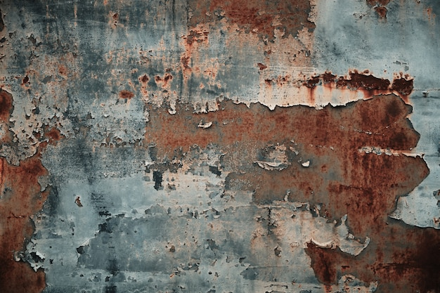Texture of rusty metal with peeling paint