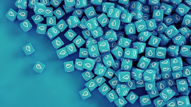 The texture of scattered cubes with water drops icons on the sides. 3d illustration