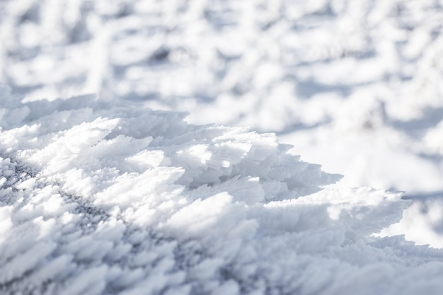 The texture of the snow closeup. crystals of snow