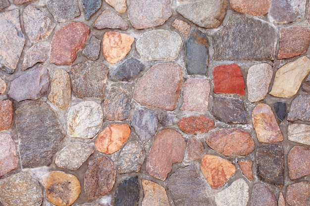 Texture of stone pavement tiles cobblestones or wall. vintage colorfull bricks background