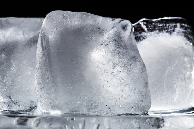 Texture of three ice cubes close-up