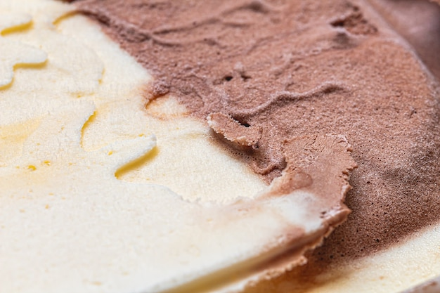 Texture of vanilla ice cream with chocolate in macro photography