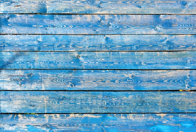 Texture of vintage blue and turquoise painted wooden background