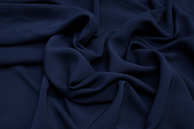 The texture of viscose fabric is dark blue.