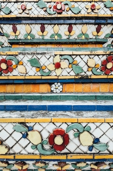 Texture wall of temple in bangkok, thailand