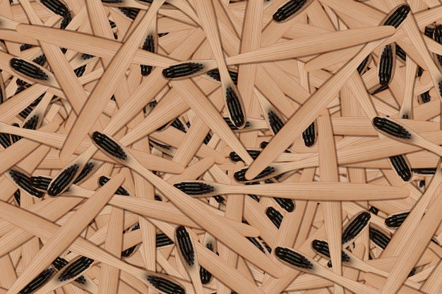 Texture of wooden toothbrushes with black bristles