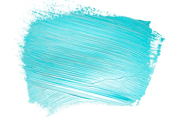 Textured blue paint brushstroke on white